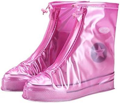 XHYRB 防水靴カバー、雨や雪のブーツは、女性の男性の再利用可能なスキッドをカバー、ブラウン、ピンク 防水靴、防雨カバー、長靴 (Color : Pink, Size : M)