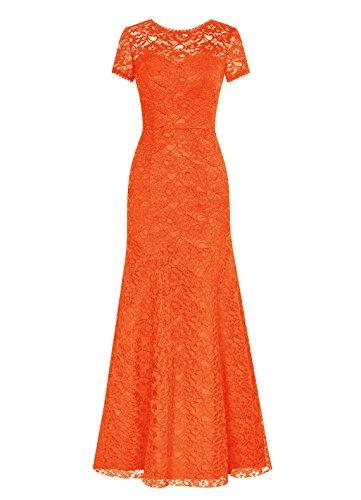 Dresstells Longue Dentelle Robe De Demoiselle D'honneur Robe Soirée À Manches Courtes Orange,