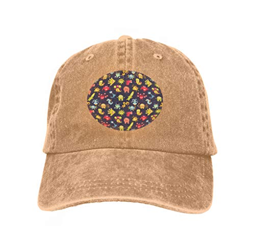 - YILINGER Unisex Retro Washed Dyed Cotton Adjustable Jean Baseball Cap Funny Little Monsters Ornament Cartoon Character Halftone Sand Color