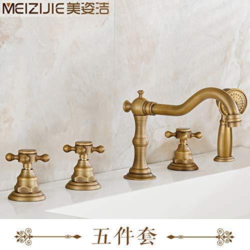 JingJingnet 洗面台の蛇口タップ浴室のシンクの蛇口全銅製のアンティーク風呂の蛇口3ピース5ピースコンチネンタルアンティークシャワーバス (Color : 5-piece Set) B07SJLQHDR 5-piece Set