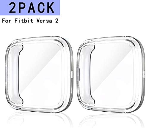 Haojavo Soft TPU Slim Fit Full Cover Screen Protector for Fitbit Versa Smartwatch Bands Accessories 8 Pack Screen Protector Case for Fitbit Versa