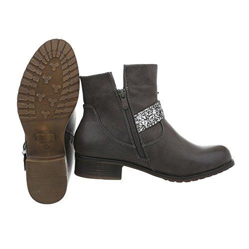 Ital Braun Ankle Classic Grau Boots Women Design gxCrqzwY1g