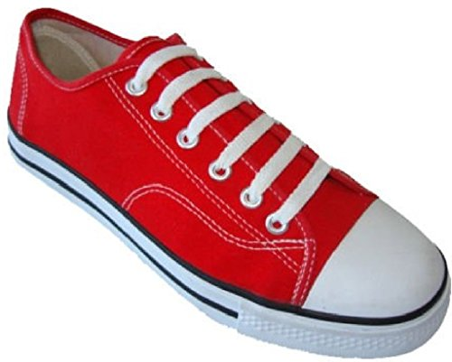Shoes 18 Womens Classic Canvas Lace up Shoes Sneakers 327L Red 6 Canvas Lace Up Shoes