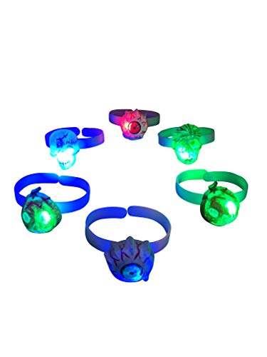 12 PC LED Light Up Flashing Halloween Pumpkin Mummy Skull Eye Ball Bracelet Wristbands -