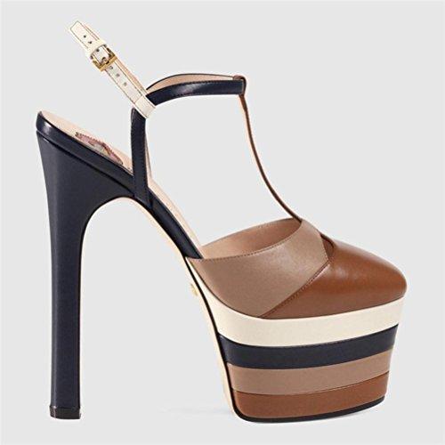 QPYC después Hebilla de fino Hentian Cabeza Sandalias de correa grueso brown mujer tacón de Impermeable de Taiwán redonda fondo Zapatos Espacio High stripes la lateral I181rwfq
