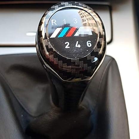 Dybanp Schaltknauf Black Carbon Fiber Externer Schaltknauf Für Bmw E34 E38 E39 E46 E53 E60 E63 E83 E84 E87 E90 5 Geschwindigkeit 6 Gang Mit M Logo Sport Freizeit