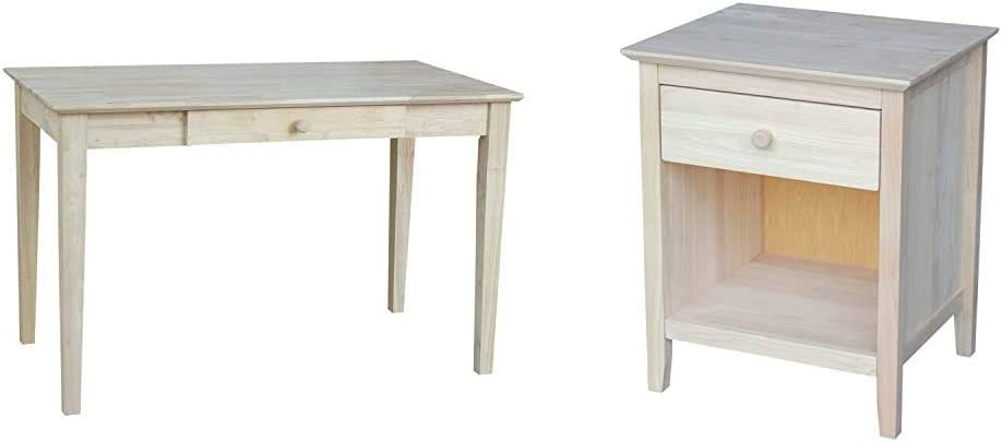 International Concepts Writing Desk, Unfinished & Nightstand with 1 Drawer, Unfinished