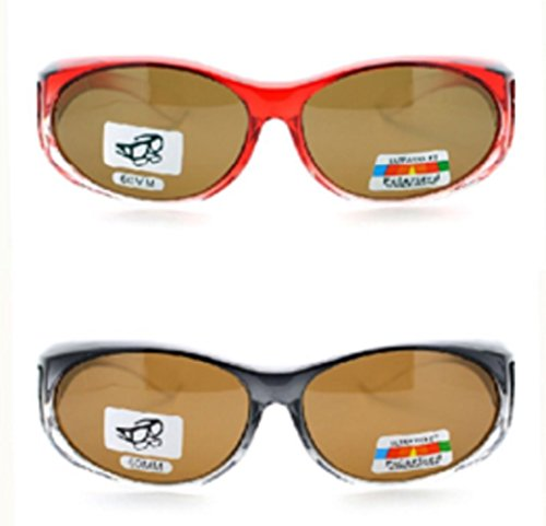 2 Pair of Women's Polarized Fit Over Ombre Oval Sunglasses - Wear Over Prescription Glasses (Red with Brown Lens, Grey with Brown Lens) 2 Carrying Cases - Wear To Sunglasses How