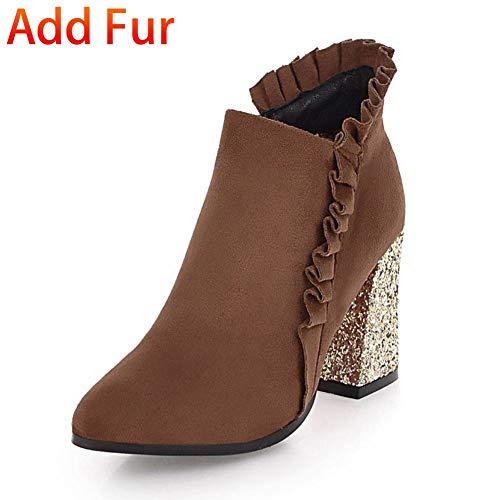Gruesos Cremallera Tacones Botines Calientes Fur Invierno Grande Botas Mujer Agregar With Hoesczs Zapatos Tamaño De 33 Brown Felpa 43 I7qw4fWPxB