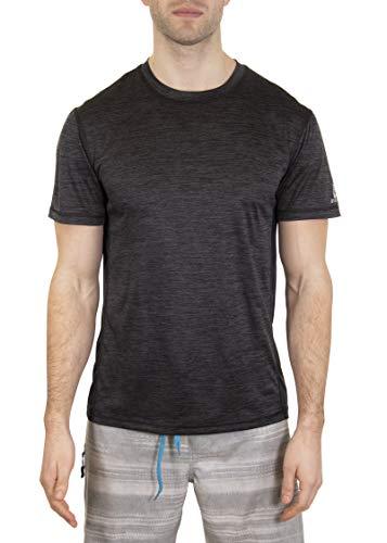 LAGUNA Mens Short Sleeve Space Dye Crewneck Loose Fit Rashguard Sun Tee Shirt, UPF 50+, Black, XL ()