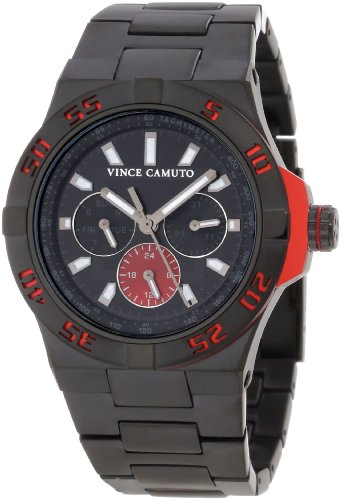 Vince Camuto Men's VC/1009RDBK The Master Red Aluminum Accented Multi-Function Black Ion-Plated Watch