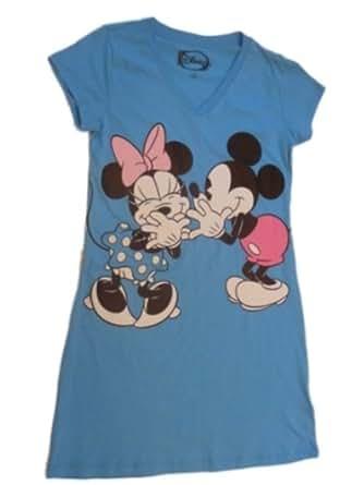 Disney Womens Blue Mickey Mouse & Minnie Nightgown SleepShirt Night Sleep Shirt