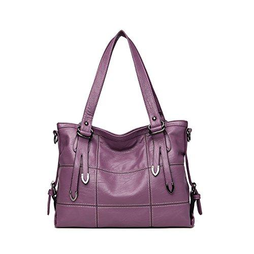Coolives bolsos de hombro de las señoras del diseñador bolsos de cuero de la PU para la venta de las mujeres en línea Púrpura