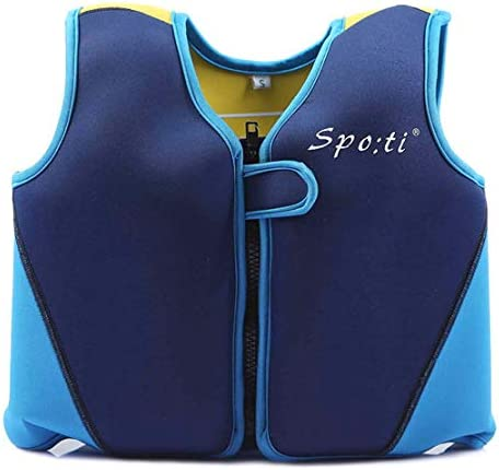 Genwiss赤ちゃんの水泳ライフジャケット1 – 7年ブルーとイエロー 青(1) Medium(3-4 years/28-38 lbs)