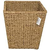 WoodLuv Natural Seagrass Waste Paper Bin Square Basket Storage