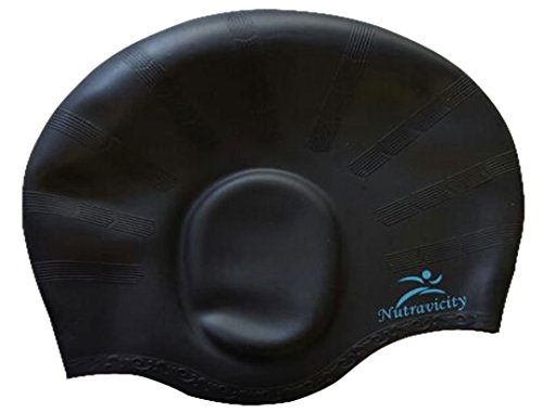 Nutravicity Silicone Swim Cap for Long Hair Black+ Free Set of Ear Plugs and Nose Clip