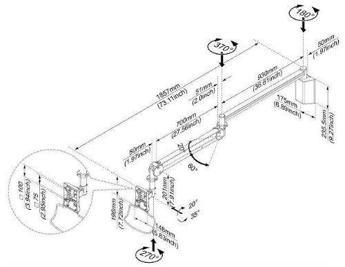Amazon Com Cotytech Long Reach Lcd Monitor Arm Mw M23p