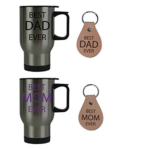 Best Dad Ever + Best Mom Ever Stainless Steel Travel Coffee Mugs Bundle with Leather Keychains (Black, Purple) - Great for Expecting Grandpas, Grandmas for Dad, Grandpa, Grandma, Papa, Wife
