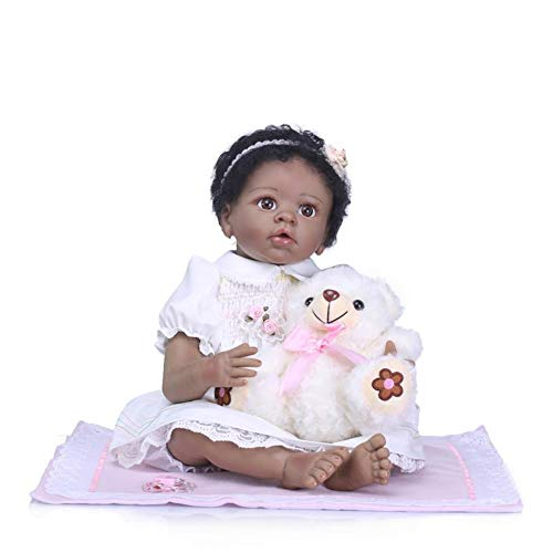 Binxing Toys Biracial Reborn Ethnic Baby Dolls Black Curly Hair African American Girl 22 inch 55cm Cute Realistic Baby Black Skin Lifelike Kids Toys(with Clothes, Bottle Nipple Set Bear)