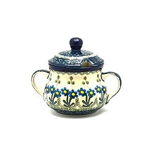 Polish Pottery Sugar Bowl – Blue Spring Daisy