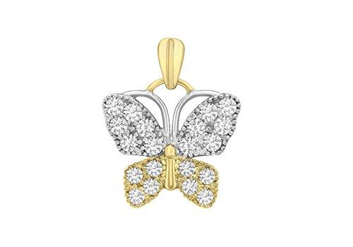 Jewellery World Bague en or jaune 9carats Pierre Papillon Pendentif
