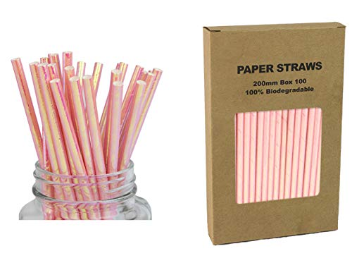 Iridescent Pink Paper Drinking Straws - Box of 100 Biodegradable Pearl Foil Straws for Milk, Juice, Swizzle Sticks for Treat Display Party Decor -