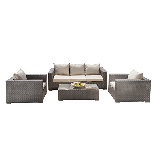 Supernova 4 Pcs Outdoor Wicker Patio Furniture Sofa Table