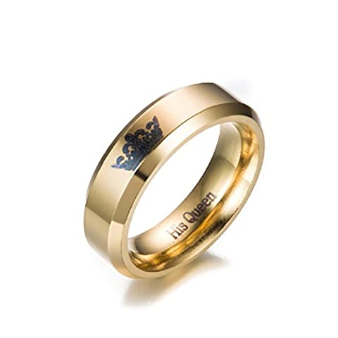 New Crown Ring, His Queen Ring Band, Hers Gold Color Stainless Steel Ring, Wedding Anniversary Gift for Women 6mm (Her Size (Religious Gold Crowns)