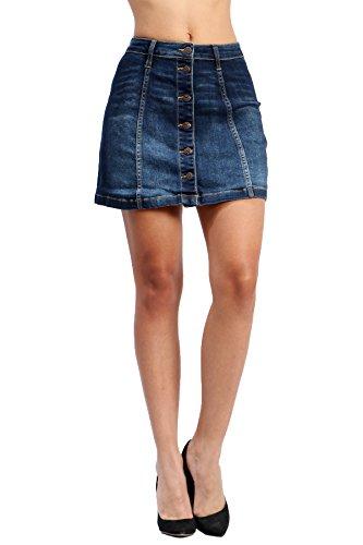 Fandsway Women's Vintage Washed Button Denim Jean Skirts (X-SMALL, DARK DENIM-54504)