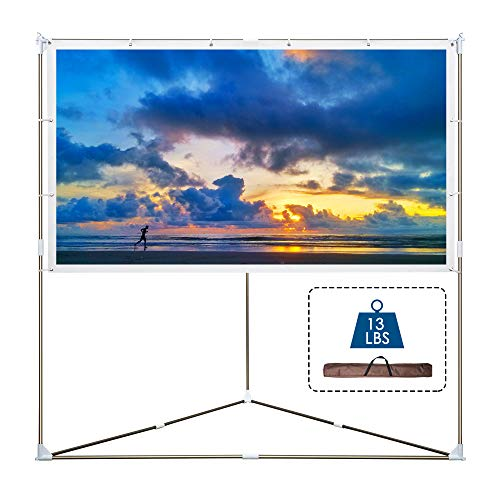 Cloud Mountain Portable Projector Screen with Stand, 100 inch 16:9 Outdoor & Indoor Triangle Projector Screen, Wrinkle-Free Projection Screen with Aluminum Bar, for Home Cinema, Theater, Event, Office (Clouds Projector)