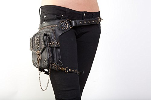 Blaster 3.0 Black Leather Hip Bag / Shoulder Holster / Cross-Body Bag by Jungle Tribe