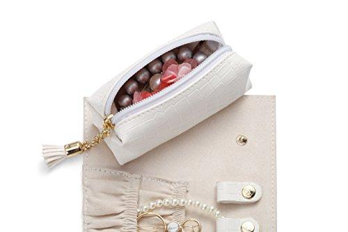 Vlando Rollie Portable Jewelry Roll, lipstick/Daily Jewelries Storage Case- (White) by Vlando (Image #3)