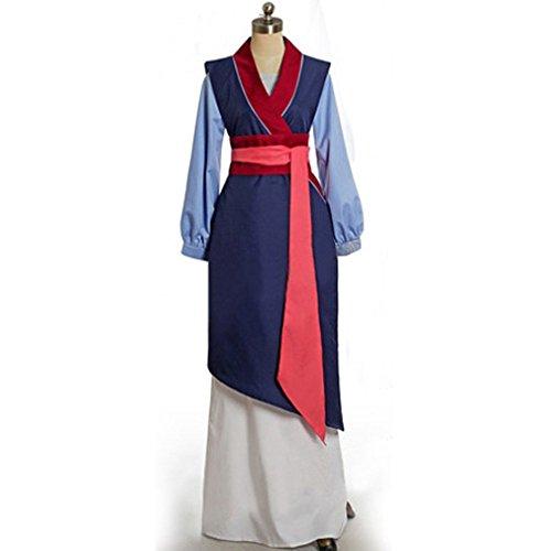 Cuterole Princess Fa Mulan Cosplay Mulan Blue Costume Halloween Fancy Dress Custom (Mulan Blue Dress)