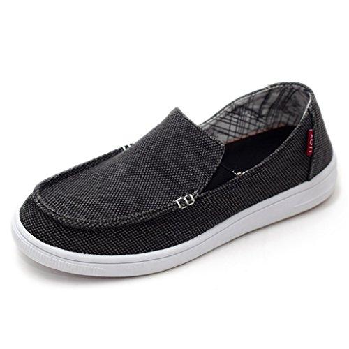 TAGOO Men's Comfortable Leisure Slip-on Flattie Cloth Shoes Breathable, Size 9, Black