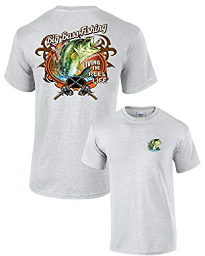 (Fishing T-Shirt Big Bass Fishing-Lightgrey-XXL)