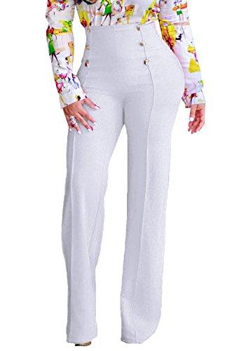 Women's High Waist Bell Bottoms Palazzo Wide Leg Pants (White,US8)