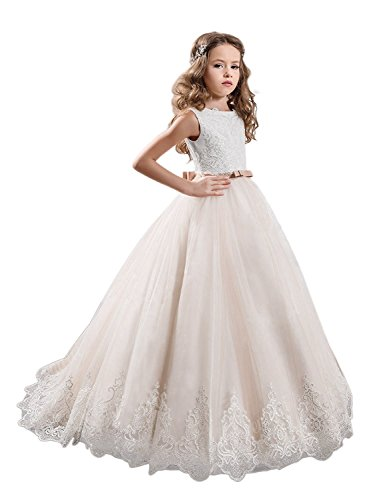 KissAngel Ivory Long Lace Flower Girl Dresses Champagne Less Party Dress (6, White &Champagne)