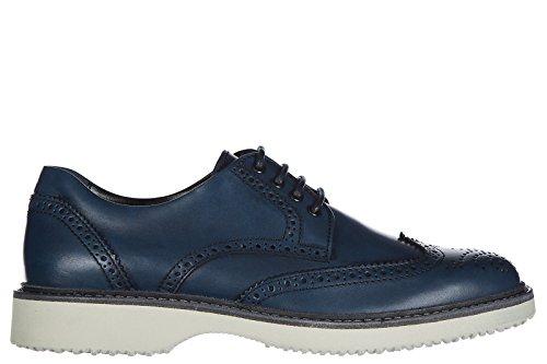 Hogan scarpe stringate classiche uomo in pelle nuove h217 derby bucature blu