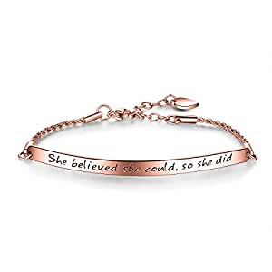 "ILLUNITE Engraved Message ""She believed she could so she did"" Inspirational Link Bracelet, Women Jewelry, Graduation Gifts (Rose Gold)"