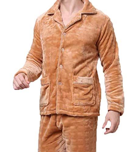 Sleepwear Giallo Pigiama Inverno Caldo Servizio Uomo Cuccia Spessore Flanella Due Home Autunno Vestito Di Abbigliamento Loungewear qwZ7BS6rq