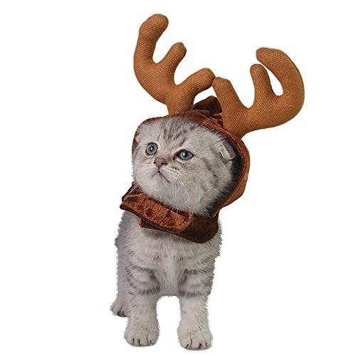 BUYITNOW Soft Pet Reindeer Antlers Hat Small Dogs Cats Christmas Headwear Costume -