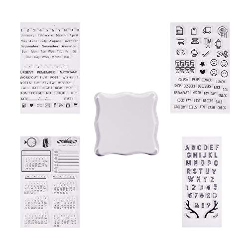 PH PandaHall 4 Sheets Clear Silicone Stamps Alphabet Calendar Symbol Stamp Seal Set with Square Acrylic Block Pad for Cards Making DIY Scrapbooking Photo ()