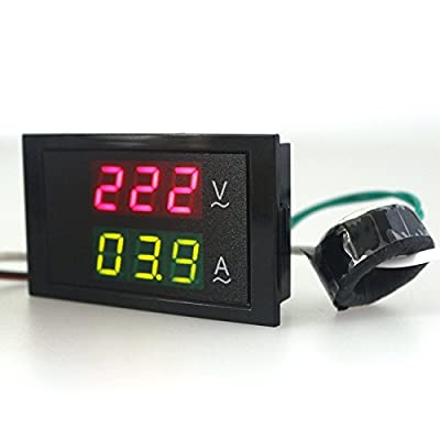 KETOTEK Digital Voltage Ampere Multimeter 110V/220V AC 80V-300V/100A Volt Current Meter Voltmeter Ammeter Gauge Sense Transformer LED Dual Panel Display Detector+Current Sense transformer