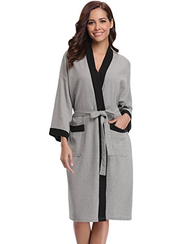 d20c181e3b Aibrou Unisex Waffle Dressing Gown Cotton Lightweight Bath Robe for All  Seasons Spa Hotel Pool Sleepwear - Buy Online in Oman.