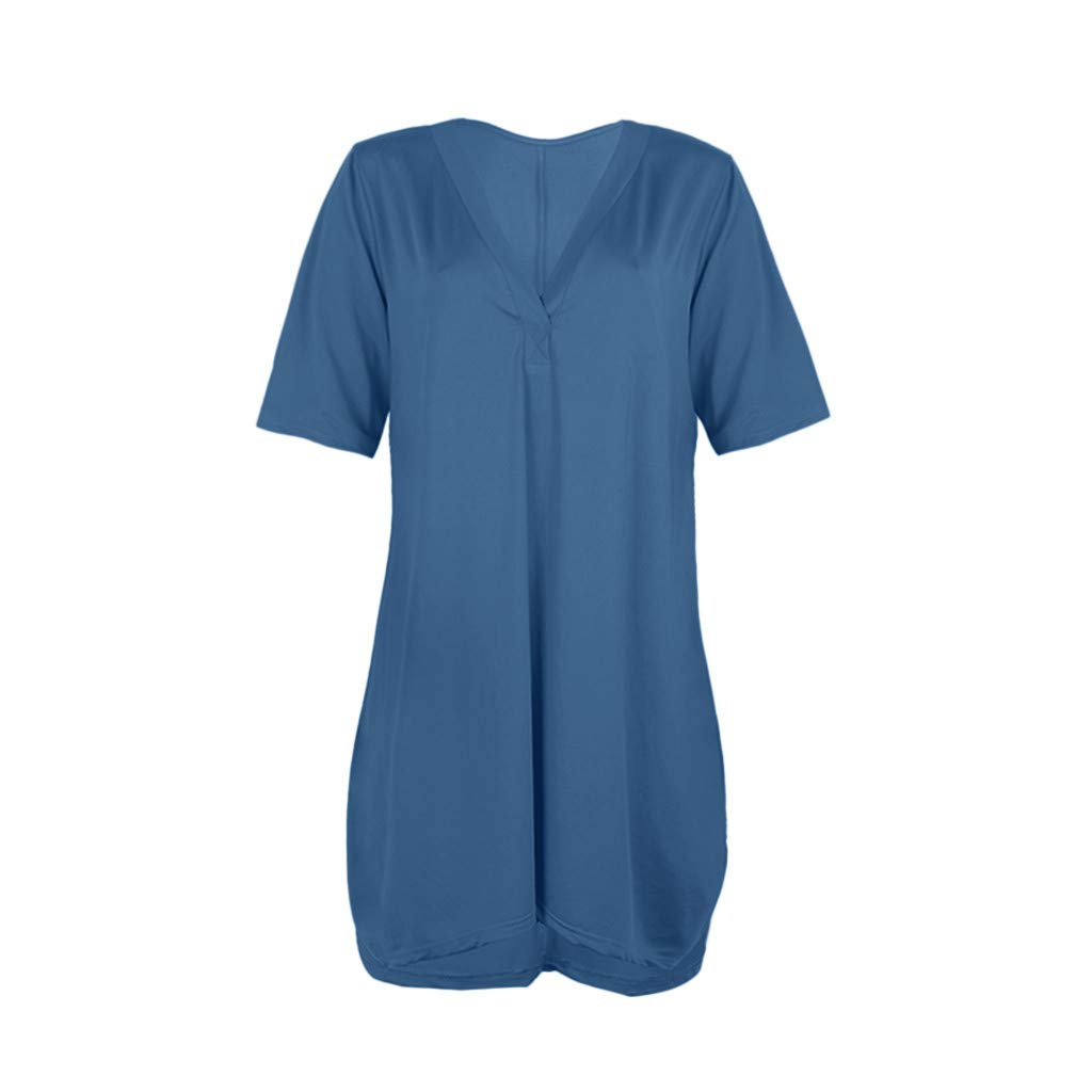 YEZIJIN Women Solid V-Neck Oversized Dress Loose 1//2 Sleeved Ruffled Kaftan Mini Dress Under 10 Dollars