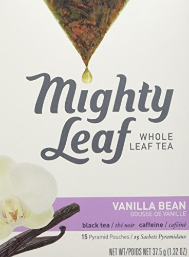 Mighty Leaf Whole Leaf Tea, Vanilla Bean, 15 Tea Bags Individual Pyramid-Style Tea Sachets of Caffeinated Black Tea with Vanilla and Natural Flavors, Delicious Hot or Iced
