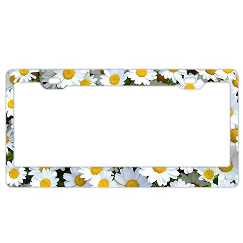 Personalized Custom Made Daisy Flower Metal License Plate Frame