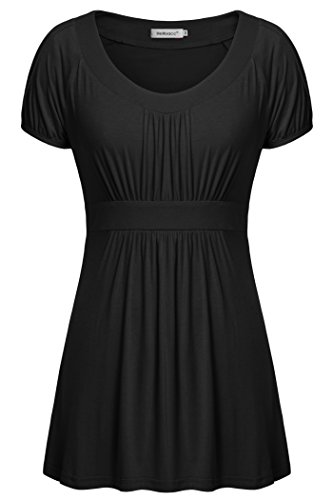 (Helloacc Tunics for Women Plus Size, Summer Loose Fit Tshirt Pleated Black XL)