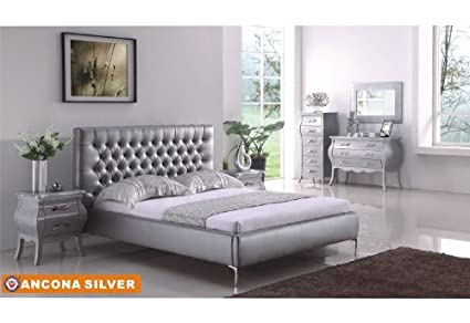Amazoncom American Eagle Furniture Ancona Silver Bonded Leather