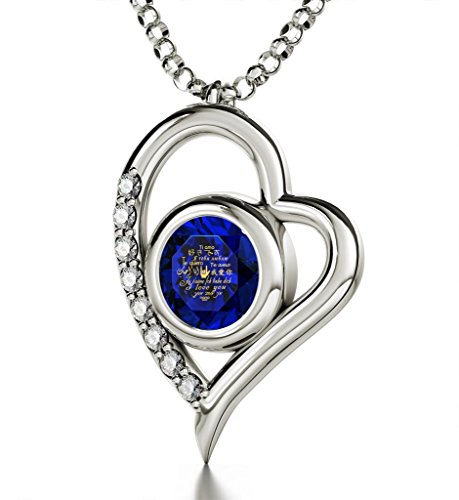 925 Sterling Silver Heart Pendant Necklace I Love You 12 Languages 24k Inscribed Dark Blue Crystal, 18'' by Nano Jewelry